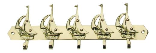 Schlüsselhaken mit 5 Segelbooten