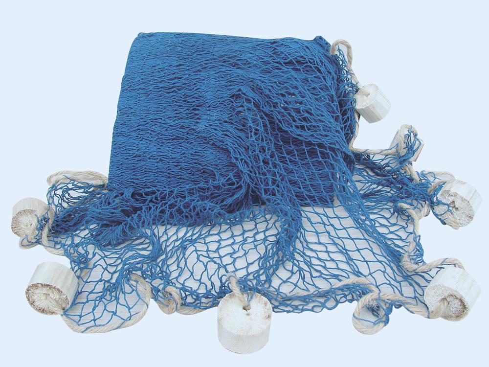 Fischernetz mit schwimmern baumwolle blau perfekt f r for Maritime wohnaccessoires
