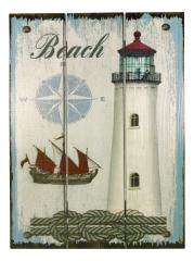 Wandbild Leuchtturm, Holz, 29x39x2 cm