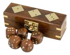 Würfel-Spiel, Holz Messing, 12,5 cm