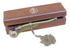 Bootsmannpfeife Messing-Antik, 12 cm