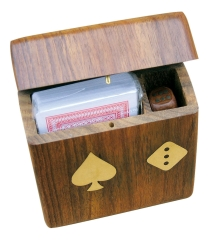 Karten und Würfel Holzbox