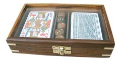 Karten-Würfel-Box mit Glasdeckel