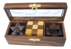 3 Knobelspiele in der Holz Box mit Glasdeckel